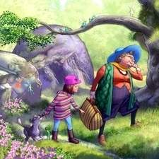 One of a set of images for the 'Where's the' series of books - this one being 'Where's the Fairy'.  They follow the mission of a litle girl and her adventurous granny to find the fairies reported to exist in nearby woodland.  