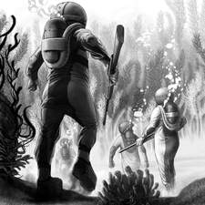 One of a set of illustrations for a 'young reader' version of 20, 000 Leagues Under the Sea, published by OUP.