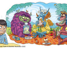 Monsters enjoy a picnic