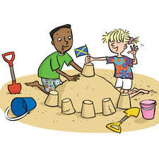 Kids on the beach making a sandcastle