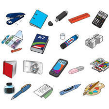 School stationery and electrical items