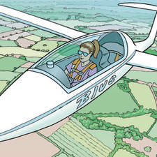 Female glider pilot, soaring over English countryside with fields and hedges.