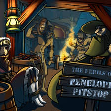 """Cover for a restyle of """"the perils of Penelope Pitstop"""" animated series, in old west style"""