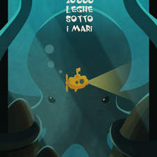 """Cover book for Jules Verne's """"20.000 leagues under the sea"""""""