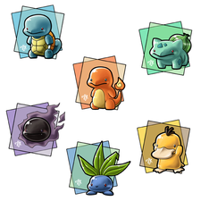 Design of chibi style pokemon for some t-shirts