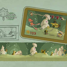 """design for a tablet game, based on Jules Vern's book """"20.000 leagues under the sea"""""""