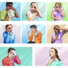 Illustrating signs of illness/sickness