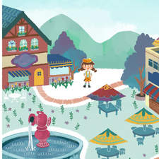 Cheesabelle Town - A spread I designed for my picture book project.