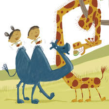 Funny park scene: two kids (riddle book) in a dromedary meet a giraffe, a squirrel says hi to a boy and a sleeping man will have a surprise...