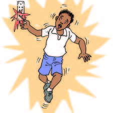 Boy being electrocuted