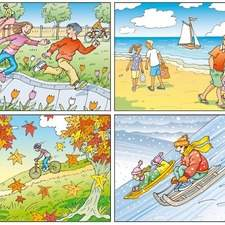 Four seasons pictured with running children through borders of tulips, people walking on beaches, cycling through autumnal landscape and sledging.