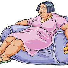 Fat lady with hot dog slumped in a chair looking sad.