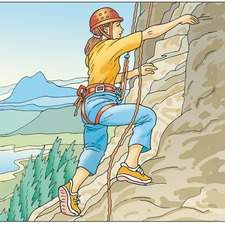 Rock climber girl ascending a difficult cliff face.