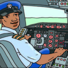 Airline pilot in his cockpit, hand on controls.