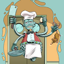 Multi armed robot chef with cleaver and frying pan, catching a mouse