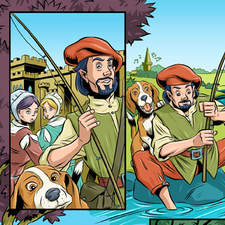 Comic strip of Lambton Worm folk tale. Man with his dog fishing catches giant worm monster