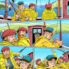 Comic strip of three fisherman in a boat on Loch Ness, attacked by monster.