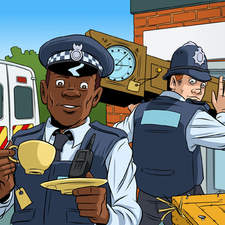 An Afro-Caribbean and a white police officer carrying furniture and boxes into the police station, with a parked police van.