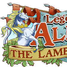 Legends Of Albion comic strip logo; heraldic lion and unicorn framing a shield and banners.