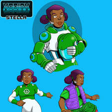 Afro-Caribbean girl space adventurer in casual clothing, starship uniform and spacesuit.