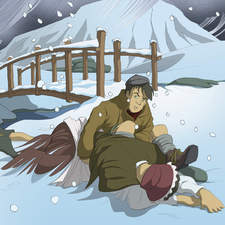 How Green was My Valley: boy protects fallen mother in the snow