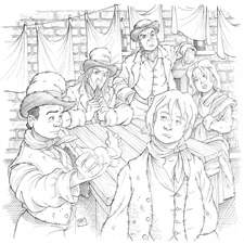 Oliver Twist, the Artful Dodger, Fagin, Bill Sykes & Nancy in Fagin's loft seated around a table
