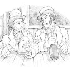 Fagin and Bill Sykes meeting in the pub