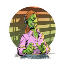 Female zombie call centre worker