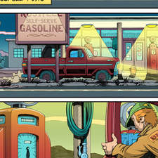 Comic strip: pick up truck pulls in to night time US gas station