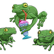 Three frogs, one drinking a milkshake