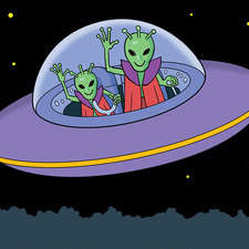 Scene depicting UFO with aliens about to land in back garden for younger readers.