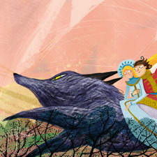 Ivan and Helen riding on magic wolf. Russian fairy tale