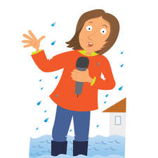 Lady reporter in a flood