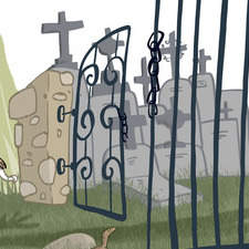 A group of kids are in a cycling excursion and they passed by a spooky cemetery.