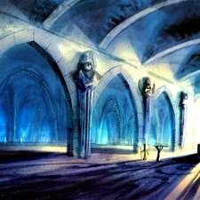concept art for video games, temple interior design
