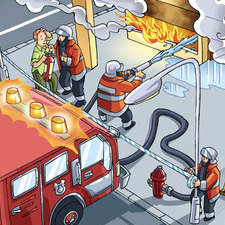 Firemen extinguishing a fire in a bulding.