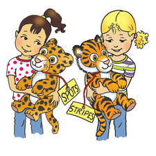 Two five year old girls cuddling a toy tiger and a toy leopard