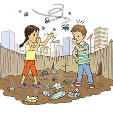 Six year old boy and girl on city waste ground amongst rubbish