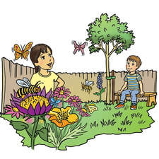 Six year old boy and girl in garden with flowers, bees and butterflies