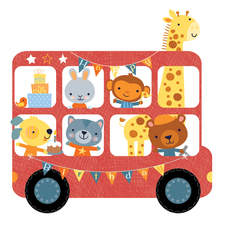 fun birthday image-animals on the bus