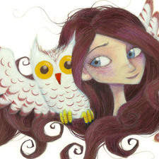 Owl And Girl. Mixed Media