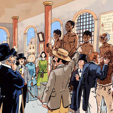 Gouache color illustration for non fiction book about the history of slavery