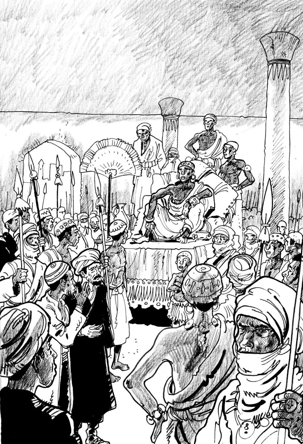Black and white illustration for graphic novel about Ibn Battuta