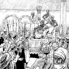 Black and white illustration for graphic novel about Ibn Battuta
