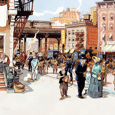 Gouache color illustration for non fiction book about New york