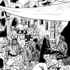 Black and white illustration for a graphic novel about Salah Ad Dine (saladin)
