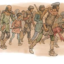 Ragged medieval peasant refugees on a trek.