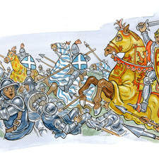 Medieval battle with armored knights on horseback, fleeing enemy, banners.