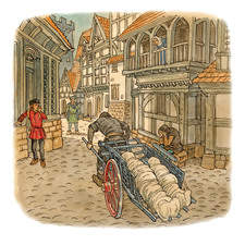 Medieval street scene with plague cart containing dead bodies wrapped in shrouds, grieving people.