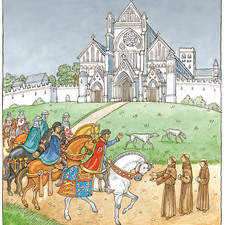 A medieval prince with his entourage of soldiers and courtiers stops to talk to three monks outside a cathedaral while two dogs ramble about in the distance.